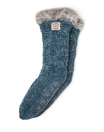 Dearfoams Women's Chenille Knit Blizzard Slipper Sock Deep Aqua ONE SIZE