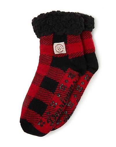 Dearfoams Women's Fairisle or Plaid Knit Cozy Slipper Sock Red ONE SIZE