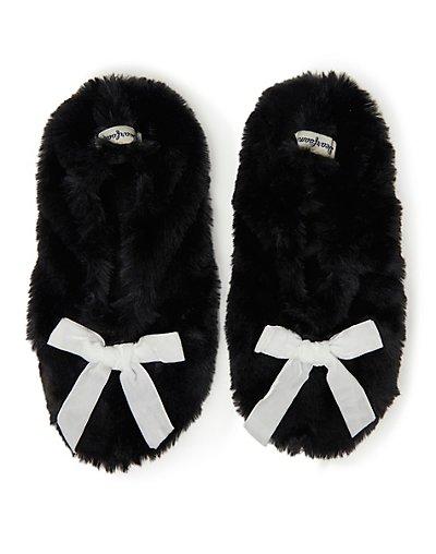 Dearfoams Women's Furry Toasty Slipper Sock Black M-L