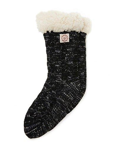 Dearfoams Women's Space-Dye Cable Knit Blizzard Slipper Sock Black ONE SIZE