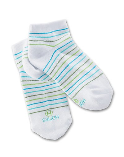 Hanes Classics Girls' Low-Cut EZ Sort Socks 4-Pack Assorted 6-7 1/2