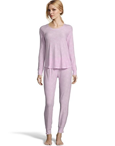 One Hanes Place Jersey Long Sleeve PJ Set-Pink Pink S