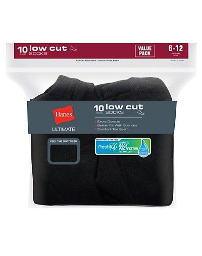 Hanes Ultimate Men's Cushion Low Cut Socks 10-Pack Black 6-12