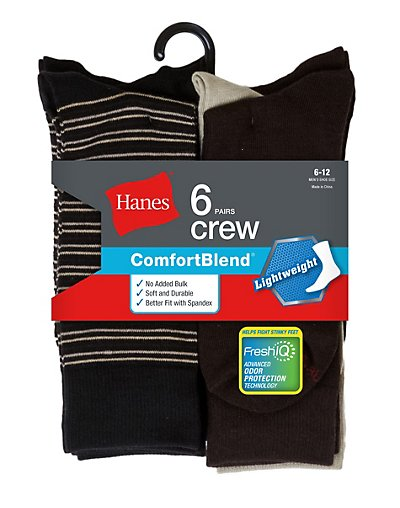 Hanes Men's FreshIQ ComfortBlend Lightweight Casual Dress Socks 6-Pack Black Stripe/Brown/Khaki Assortment 10-13