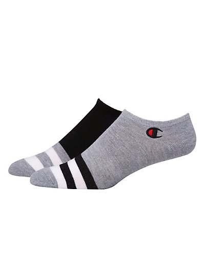 Champion Men's Performance Super No-Show Socks, 2-Pack Black/Grey Heather 10-13