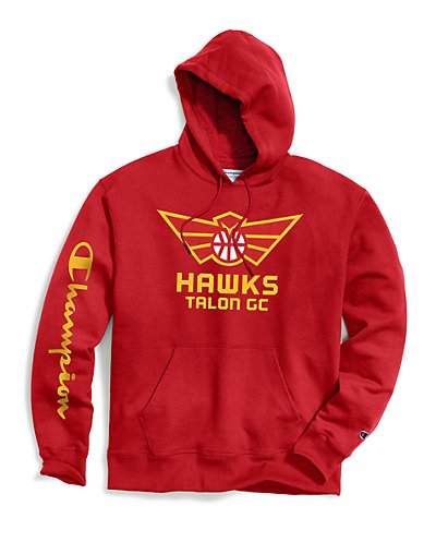 Exclusive Champion Men's NBA 2K Atlanta Hawks Talon Gaming Pullover Hoodie Scarlet L