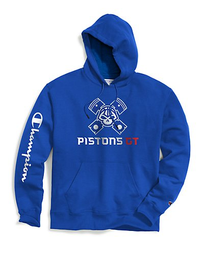 Exclusive Champion Men's NBA 2K Detroit Pistons Gaming Pullover Hoodie Royal L