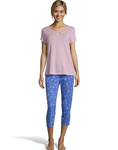 One Hanes Place Goodnight Kiss Sleep Capri Set Blue Flamingo S