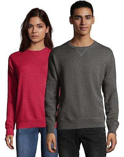 Hanes Adult ComfortWash Garment Dyed Fleece Sweatshirt New Railroad Gray S