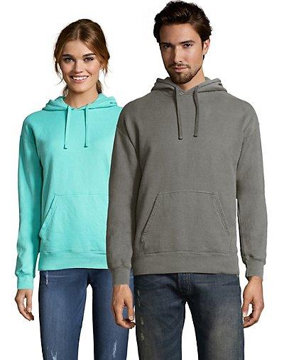 Hanes Adult ComfortWash Garment Dyed Fleece Hoodie Sweatshirt Concrete Gray S