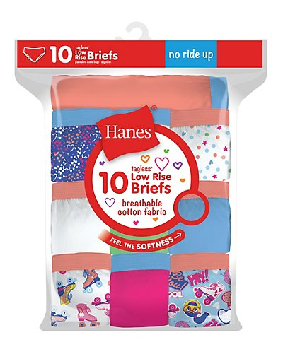 Hanes Girls' Cotton Low Rise Briefs 10-Pack Assorted 1 8