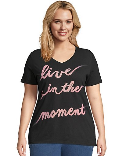 Just My Size Live In The Moment Short Sleeve Graphic Tee Black 1X