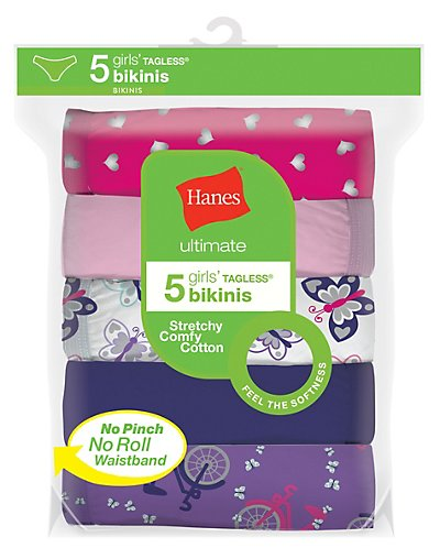 Hanes Ultimate Girls' Cotton Stretch Bikinis 5-Pack Assorted 1 8