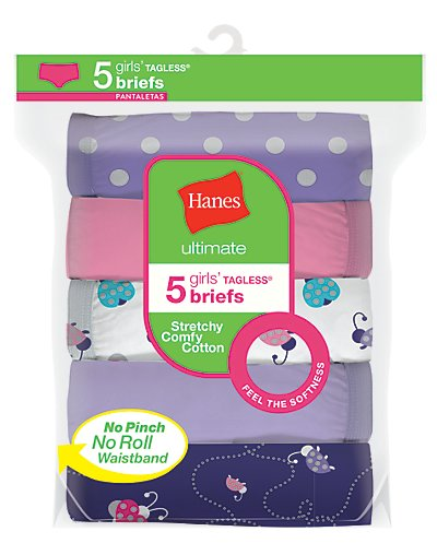 Hanes Ultimate Girls' Stretchy Comfy Cotton Briefs 5-Pack Assorted 1 8