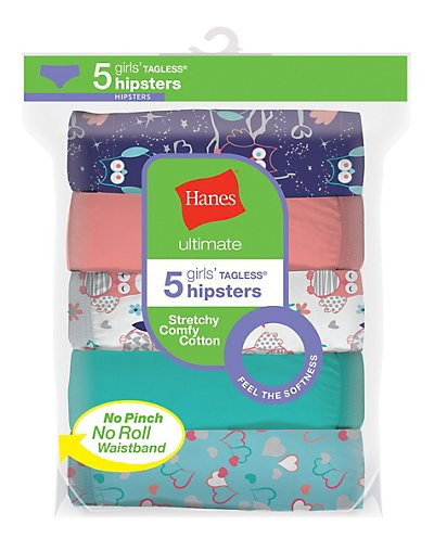 Hanes Ultimate Girls' Cotton Stretch Hipsters 5-Pack Assorted 1 8