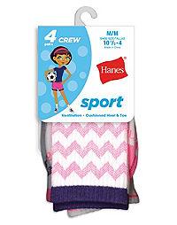 Hanes Girls Crew Socks 6-Pack