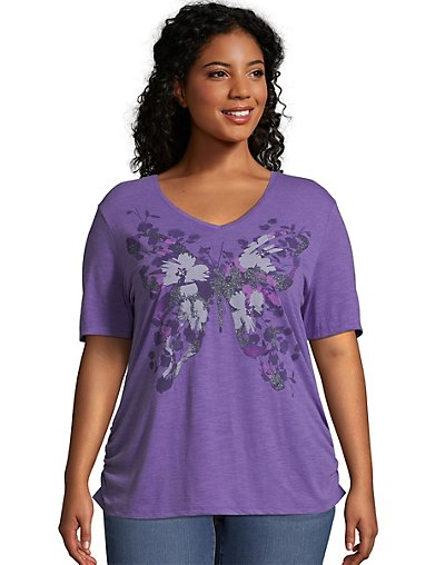Just My Size Short-Sleeve V-Neck Women's Graphic Tee with Shirred Sides Garden Wings/Tourmaline Heather 3X