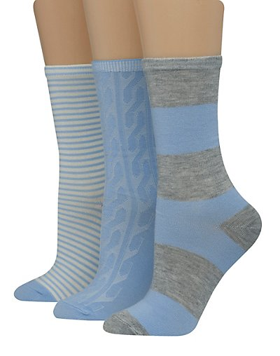 Hanes Women's Assorted Giftable Crew Socks 3-Pack Blue Grey Assortment 5-9