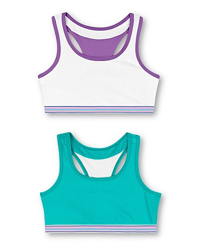 Hanes Girls' ComfortFlex Fit Pullover Bra with Wide Racerback Straps 2-Pack True Teal and White/White Spring Purple S