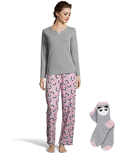 One Hanes Place Pillow Talk Soft & Cozy Pajama Set with Socks Panda L