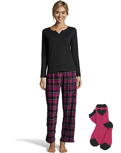 One Hanes Place Pillow Talk Soft & Cozy Pajama Set with Socks Pink Plaid XL