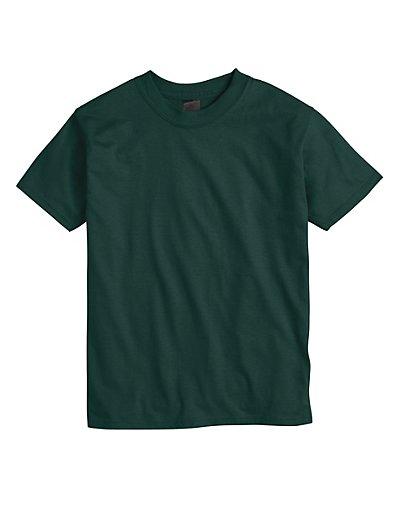 Hanes Beefy-T Kids' Crewneck T-Shirt 3-Pack Deep Forest XS