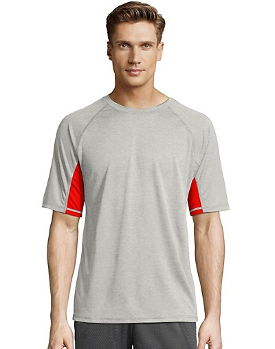 Hanes Sport X-Temp Men's Performance Training Tee Oxford Grey/Scarlet S