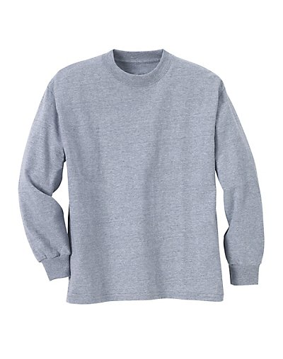 Hanes ComfortSoft Kids' Long-Sleeve T-Shirt 3-Pack Light Steel M