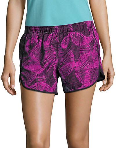 Hanes Sport Women's Performance Running Shorts Purple Cactus Flower Bursts/Black S