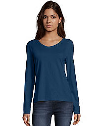 bf0037fa9e4 Hanes Women s Long-Sleeve V-Neck T-Shirt