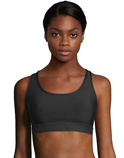 Hanes Sport Women's Racerback Compression Sports Bra Black XL