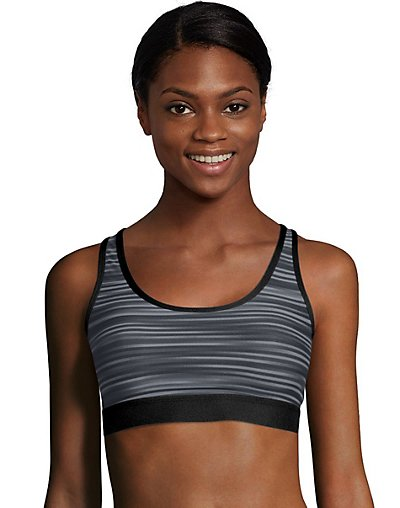Hanes Sport Women's Racerback Compression Sports Bra Black Grey Glitch Stripe L