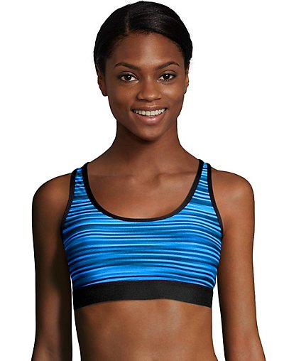 Hanes Sport Women's Racerback Compression Sports Bra Hydro Glitch Stripe S
