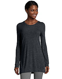 6046a64a image of Hanes Women's Lightweight Space-Dyed Vented Long-Sleeve Tunic with  sku: