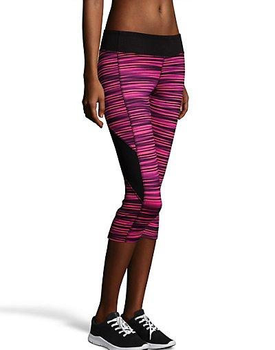 Hanes Sport Women's Performance Blocked Capri Leggings Glitch Stripe Black/Purple Cactus Flower XL