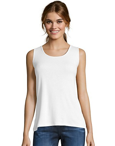 Hanes Women's Mini-Ribbed Cotton Tank White S