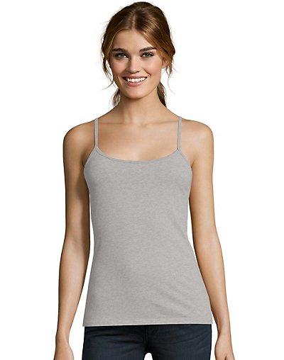 Hanes Women's Stretch Cotton Cami with Built-In Shelf Bra Grey Heather S