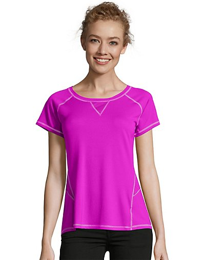 Hanes Sport Women's Performance Tee with Mesh Insets Purple Cactus Flower M