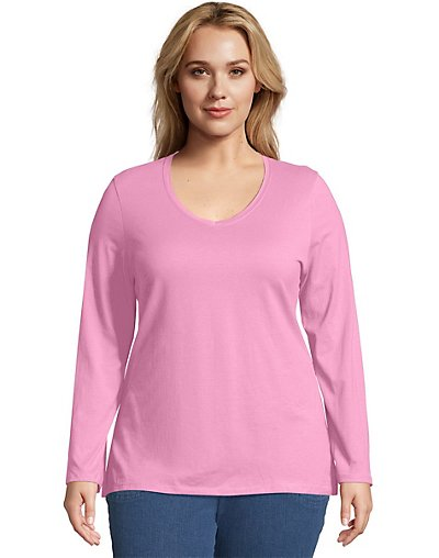 Just My Size Long-Sleeve V-Neck 100% Cotton Women's Tee Pink Swish 20
