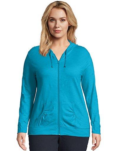 Just My Size Slub-Cotton Full-Zip Lightweight Women's Hoodie Process Blue 3X