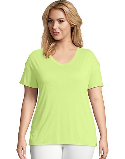 Just My Size Active Mesh Yoke Tee Washed Lime 5X