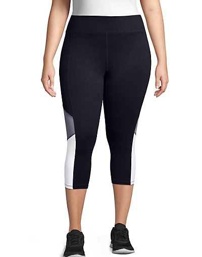 Just My Size Active Blocked Capris Black/Granite Heather/White 3X