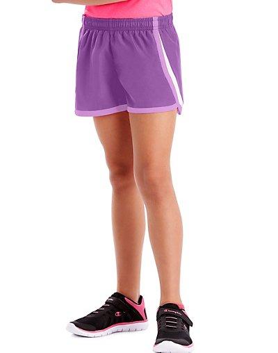Hanes Sport Girls' Woven Performance Training Shorts Purple Cactus Flower S