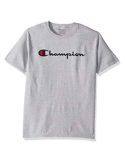 The essential Cotton Tee he needs in his line-up, now with our classic Champion script logo. Cotton jersey is ring-spun for durability and softness (Greys are a cotton-rich blend). Set-on rib trim collar and cuffs. Soft back neck tape for no irritation. Athletic fit for ease and comfort. Two-color Champion script logo center chest. C patch logo on cuff.