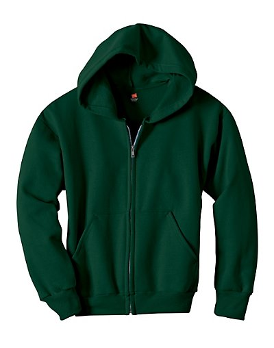 Hanes Comfortblend EcoSmart Full-Zip Kids' Hoodie Sweatshirt Deep Forest XS