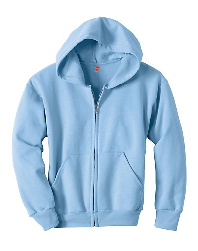Hanes Comfortblend EcoSmart Full-Zip Kids' Hoodie Sweatshirt Light Blue XS