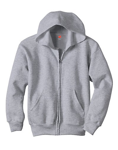 Hanes Comfortblend EcoSmart Full-Zip Kids' Hoodie Sweatshirt Light Steel XS