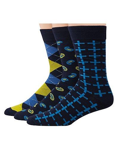 Hanes Premium Men's Assorted Dress Socks 3-Pack Yellow/Blue Assortment 10-13