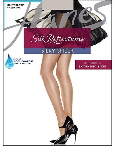 Hanes Silk Reflections Control Top Sheer Toe Pantyhose Clay AB