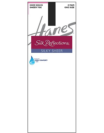 Hanes Silk Reflections Silky Sheer Knee Highs 2-Pack Jet ONE SIZE